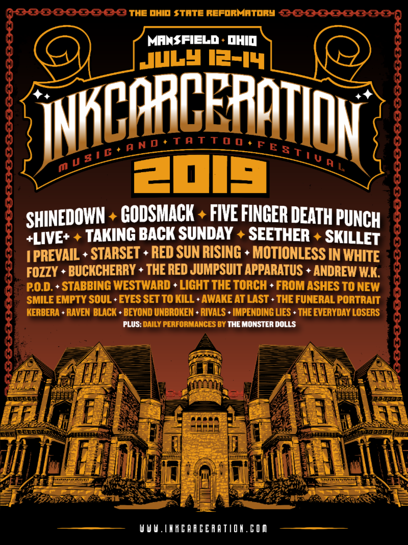 Inkcarceration Music & Tattoo Festival release the festival's individual daily line-ups!