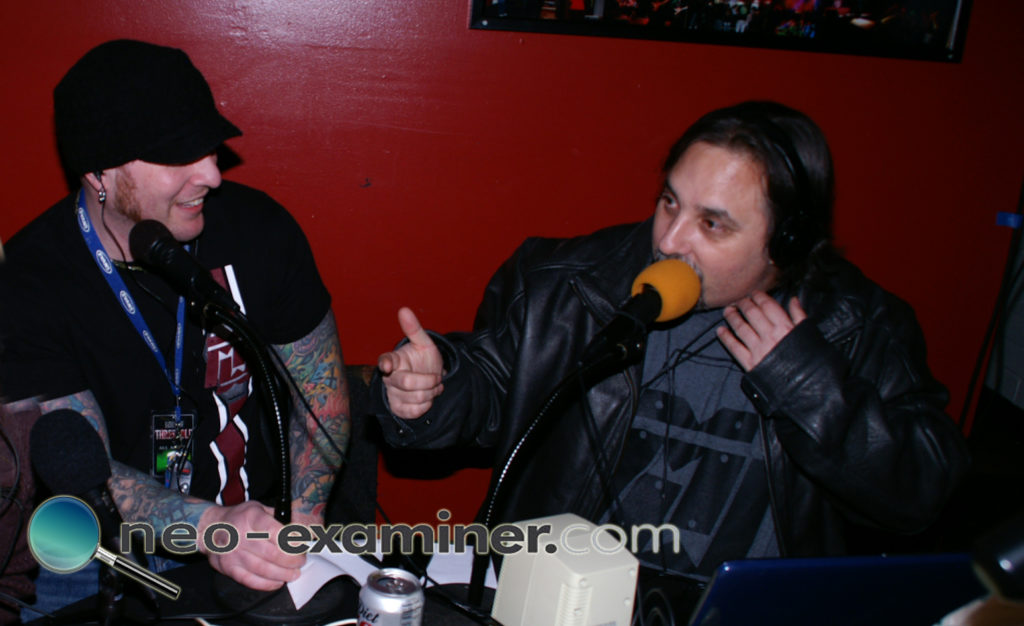 Dom and cohost Michael Strong during a remote broadcast of Maxiumum Threshold Radio