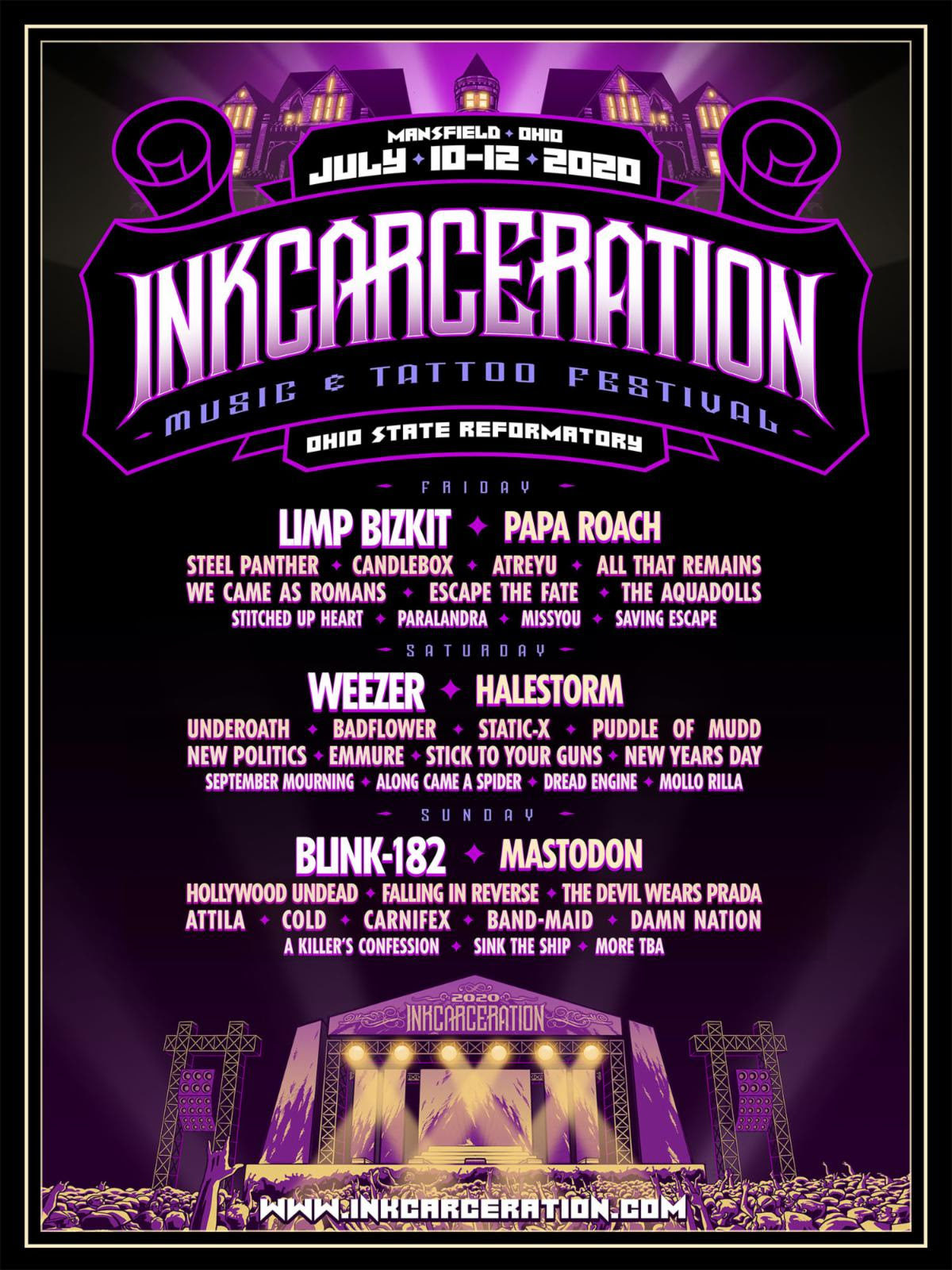 Third Annual INKCARCERATION Music and Tattoo Festival Announces Daily Lineups